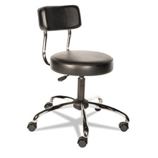 Alera Plus™ HL Series Height-Adjustable Stool with Back, Black