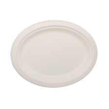 "10"" x 8"" Bagasse Plate, Oval, Ref#P020"