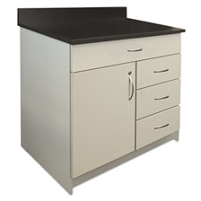 Alera Plus™ Hosp. Base Cabinet, Four Drawer/Door, 36 x 24 3/4 x 40, Gray/Granite Nebula