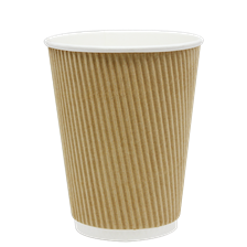 12 oz Ripple Hot Paper Cup (Kraft)