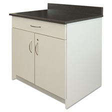 Alera Plus™ Hospitality Base Cabinet, Two Door/Drawer, 36 x 24 3/4 x 40, Gray/Granite Nebula