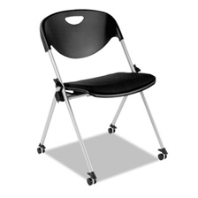 Alera Plus™ SL Series Nesting Stack Chair with Casters, Black, 2/Carton