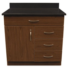 Alera Plus™ Hosp. Base Cabinet, Four Drawer/Door, 36w x 24 3/4d x 40h, Cherry/Granite Nebula