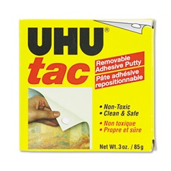 UHU® Tac Adhesive Putty, Removable/Reusable, Nontoxic, 3 oz Each