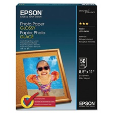 Epson® Glossy Photo Paper, 52 lbs, Glossy, 8-1/2 x 11, 100 Sheets/Pack