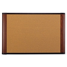 3M™ Cork Bulletin Board, 72 x 48, Aluminum Frame w/Mahogany Wood Grained Finish