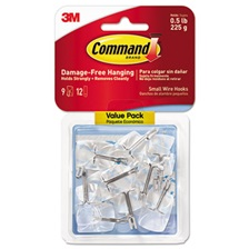 Command™ Clear Hooks & Strips, Plastic/Wire, Small, 9 Hooks w/12 Adhesive Strips per Pack