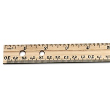 "Charles Leonard® Economical Beveled Wood Ruler w/Single Metal Edge, 12"", Natural, 36/Box"