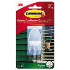 Command™ All Weather Hooks and Strips, Plastic, Large, 1 Hooks & 2 Strips/Pack