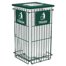 Ex-Cell Clean Grid Fully Collapsible Waste Receptacle, Square Top, 45gal, Hunter Green