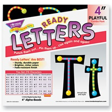 "TREND® Ready Letters Alpha-Beads Letter Combo Pack, Black,Multiple Colors, 4""h, 216/Set"