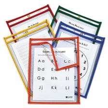 C-Line® Reusable Dry Erase Pockets, Easy Load, 9 x 12, Assorted Primary Colors, 25/Pack