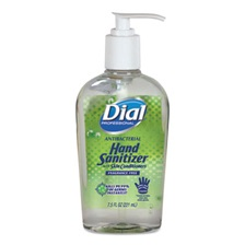 Dial® Professional Antibacterial Gel Hand Sanitizer with Moisturizers, 7.5oz Pump Bottle, 12/Carton