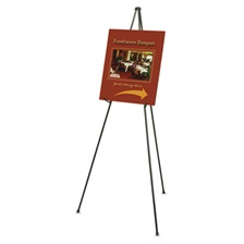 "Quartet® Heavy-Duty Adjustable Instant Easel Stand, 25"" to 63"" High, Steel, Black"