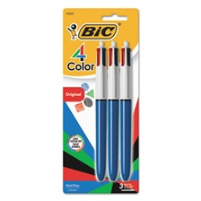 BIC® 4-Color Retractable Ballpoint Pen, Assorted Ink, 1mm, Medium, 3/Pack