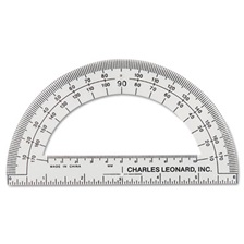 "Charles Leonard® Open Center Protractor, Plastic, 6"" Ruler Edge, Clear, Dozen"