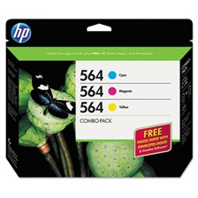 HP HP 564, (B3B33FN) 3-pack Cyan/Magenta/Yellow Original Ink w/Photo Paper