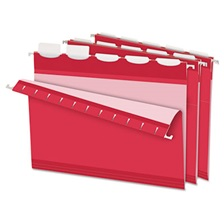 Pendaflex® Colored Reinforced Hanging Folders, 1/5 Tab, Letter, Red, 25/Box