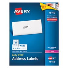Avery® Address Labels for Laser Printers, 1 x 2 5/8, White, 7500/Box