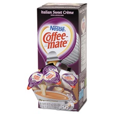 Coffee-mate® Liquid Coffee Creamer, Italian Sweet Crème, 0.375oz Mini Cups,50/Bx,4 Box/Ctn