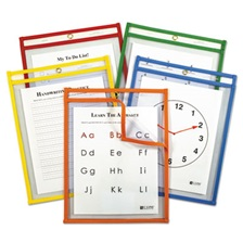 C-Line® Reusable Dry Erase Pockets, 9 x 12, Assorted Primary Colors, 5/Pack