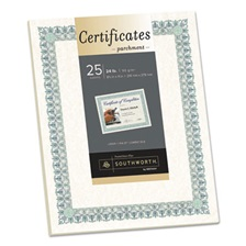 Southworth® Parchment Certificates, Ivory w/Green & Blue Border, 8 1/2 x 11, 25/Pack