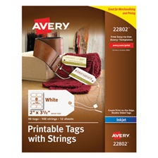 Avery® Printable Rectangular Tags with Strings, 2 x 3 1/2, White, 96/Pack