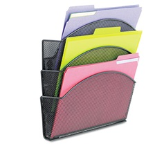 Safco® Onyx Magnetic Mesh Panel Accessories, 3 File Pocket, 13 x 4 1/3 x 13 1/2. Black