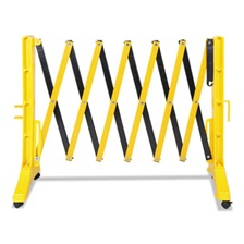 "Tatco Expandable Plastic Barrier Gate, 13"" x 16 1/2"" - 138"" x 41"", Yellow/Black"