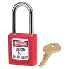"Master Lock® Government Safety Lockout Padlock, Zenex, 1 1/2"", Red, 1 Key, 6/Box"