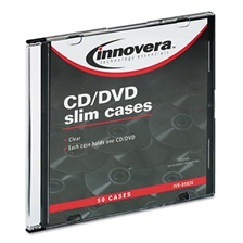 Innovera® CD/DVD Polystyrene Thin Line Storage Case, Clear, 50/Pack
