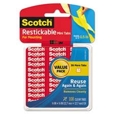 "Scotch® Restickable Mounting Tabs, 1/2"" x 1/2"", Clear, 108/Pack"