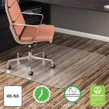 deflecto® EconoMat Anytime Use Chair Mat for Hard Floor, 45 x 53, Clear