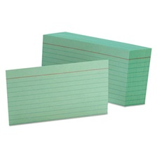 Oxford™ Ruled Index Cards, 3 x 5, Green, 100/Pack