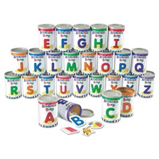 Learning Resources® Alphabet Soup Sorters, 26 Cardboard cans w/Lids, 130 Photo Cards, 52 Letters