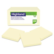 Highland™ Recycled Self Stick Notes, 3 x 3, Yellow, 100 Sheets/Pad, 12 Pads/Pack