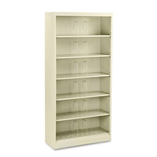 HON® 600 Series Steel Open Shelf Files, Six-Shelf, 36w x 13-3/4d x 75-7/8h, Putty