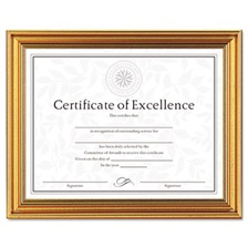 DAX® Antique Colored Document Frame w/Certificate, Plastic, 8 1/2 x 11, Gold