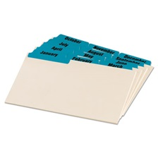 Oxford™ Laminated Tab Index Card Guides, Monthly, 1/3 Tab, Manila, 4 x 6, 12/Set