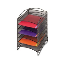 Safco® Onyx Steel Mesh Lliterature Sorter, Six Compartments, Black