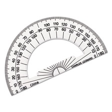 "Charles Leonard® Open Center Protractor, Plastic, 4"" Base, Clear, Dozen"