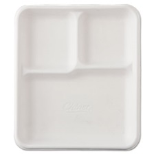 Chinet® Heavy-Weight Molded Fiber Cafeteria Trays, 3-Comp, 8 1/4 x 9 1/2, 500/Carton