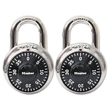 "Master Lock® Combination Lock, Stainless Steel, 1 7/8"" Wide, Black Dial, 2/Pack"