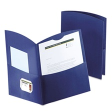 Oxford™ Contour Two-Pocket Recycled Paper Folder, 100-Sheet Capacity, Dark Blue