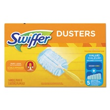 "Swiffer® Dusters Starter Kit, Dust Lock Fiber, 6"" Handle, Blue/Yellow, 6/Carton"