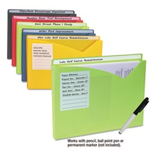 "C-Line® Write-On Expanding Poly File Folders, 1"" Exp., Letter, Assorted Colors, 10/BX"