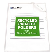 C-Line® Project Folders, Jacket, Letter, Poly, Clear, 25/Box
