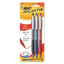 BIC® Atlantis Bold Retractable Ball Pen, Assorted Ink, 3/Pack