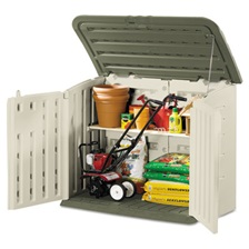 Rubbermaid® Large Horizontal Outdoor Storage Shed, 57 x 32 x 47, Olive Green/Sandstone