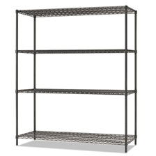 Alera® All-Purpose Wire Shelving Starter Kit, 4-Shelf, 60 x 18 x 72, Black Anthracite+
